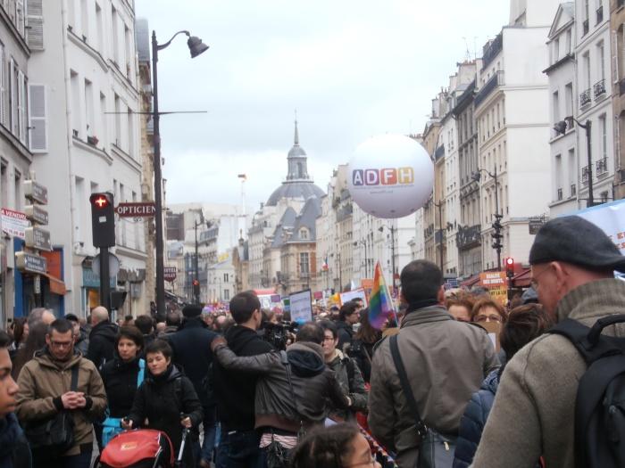 Manifestation pour l'égalité / mariage pour tous. Rue de Rivoli 16 décembre 2012, Paris. ArtWithoutSkin.com