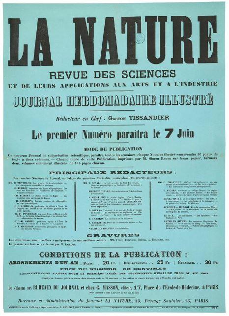 Afffiche premier numéro de la Nature